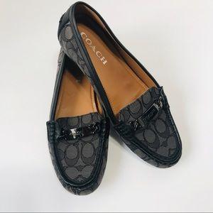 Coach Olive Outline Sig C Black Smoke Loafer Sz8.5